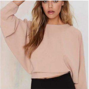 Nasty Gal Open Back Blush Long Sleeve Blouse Sz S